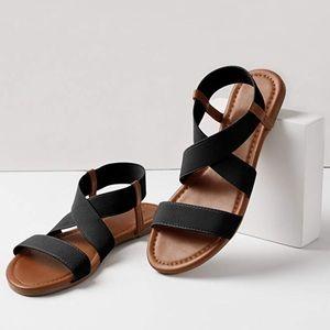 Shoes - Black & Brown Elastic Strap Sandal